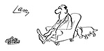 (A dog pushes his owner's chair towards his pair of slippers, rather than taking the slippers to his owner)