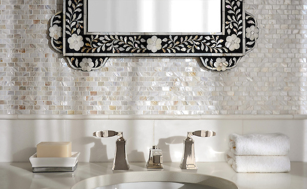 Mini Bricks, shown in Shell is part of New Ravenna's Studio Line. All mosaics in this collection are ready to ship within 48 hours.<br />