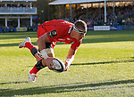 Caption correction - Imanol  Harinordoquy runs in unopposed to score the second try of the game for Toulouse - European Rugby Champions Cup - Bath Rugby vs Toulouse - Recreation Ground Bath - Season 2014/15 - October 25th 2014 - <br /> Photo Malcolm Couzens/Sportimage
