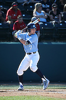 Logan Warmoth (7) of the North Carolina Tar Heels bats against the UCLA Bruins at Jackie Robinson Stadium on February 20, 2016 in Los Angeles, California. UCLA defeated North Carolina, 6-5. (Larry Goren/Four Seam Images)