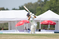 Joe Weatherley of Hampshire hits the winning runs during Middlesex CCC vs Hampshire CCC, Bob Willis Trophy Cricket at Radlett Cricket Club on 11th August 2020