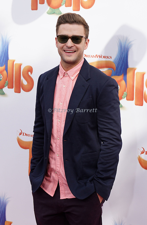 Justin Timberlake arriving at the Los Angeles premiere of Trolls held at the Regency Village Theater Westwood, CA. October 23, 2016.