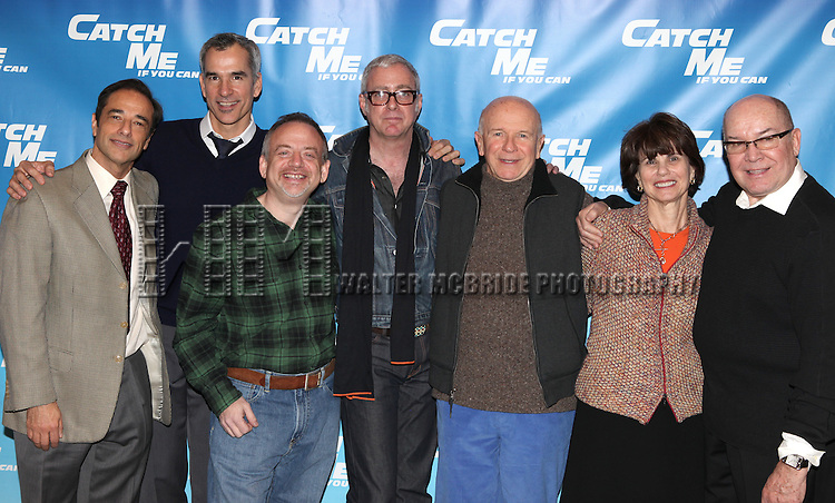 Hal Luftig, Jerry Mitchell, Marc Shaiman, Scott Whittman, Terrence McNally, Margo Lion,  Jack O'Brien.attending Meet & Greet for the New Broadway Musical 'Catch Me If You Can'  at the 42ns Street Rehearsal Studios in New York City.