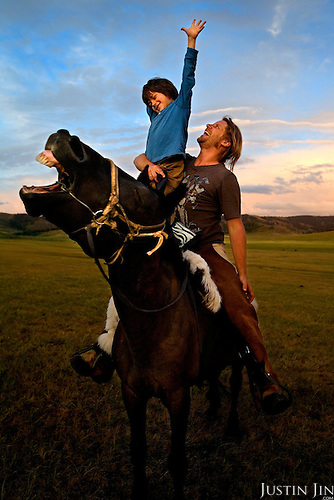 Autistic child Rowan, 5, rides a horse in Mongolia, accompanied by his parents Rupert and Kristin, their Mongolian guide Tulga, his six-year-old son Bodibilguunson and an American documentary TV crew. .Rowan's parents believe horses and shamans can unlock their son's autistic mind. This is their journey of discovery across Mongolia on horseback. .The story is published by the Sunday Times and accompany text by Tim Rayment.