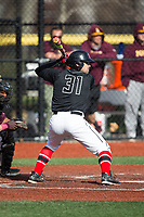Dante Scafidi (32) of the Rutgers Scarlet Knights at bat against the Iona Gaels at City Park on March 8, 2017 in New Rochelle, New York.  The Scarlet Knights defeated the Gaels 12-3.  (Brian Westerholt/Four Seam Images)