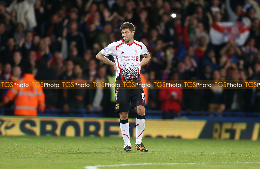 A distraught Steven Gerrard of Liverpool - Crystal Palace vs Liverpool, Barclays Premier League at Selhurst Park, Crystal Palace, London - 05/05/14 - MANDATORY CREDIT: Rob Newell/TGSPHOTO - Self billing applies where appropriate - 0845 094 6026 - contact@tgsphoto.co.uk - NO UNPAID USE