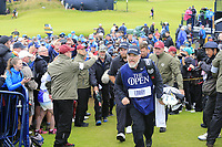 Shane Lowry (IRL) and caddy Bo walk to the 18th tee during Sunday's Final Round of the 148th Open Championship, Royal Portrush Golf Club, Portrush, County Antrim, Northern Ireland. 21/07/2019.<br /> Picture Eoin Clarke / Golffile.ie<br /> <br /> All photo usage must carry mandatory copyright credit (© Golffile | Eoin Clarke)