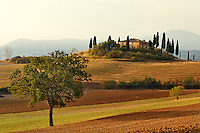 Belvedere House at sunrise, San Quirico, d'Orcia, Tuscany, Italy