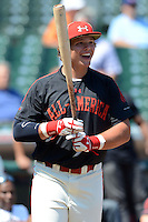 Catcher / First Baseman Chase Vallot (25) of St. Thomas More High School in Youngsville, Louisiana during the home run derby before the Under Armour All-American Game on August 24, 2013 at Wrigley Field in Chicago, Illinois.  (Mike Janes/Four Seam Images)