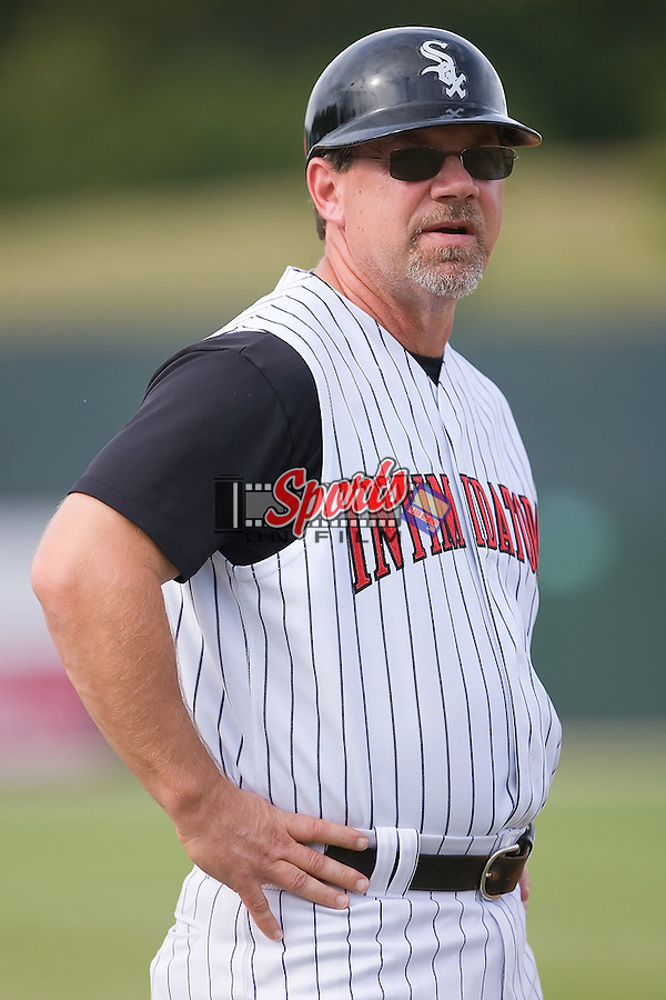 Kannapolis Intimidators manager Nick Capra in the third base coaches box at Fieldcrest Cannon Stadium in Kannapolis, NC, Saturday August 24, 2008. (Photo by Brian Westerholt / Four Seam Images)