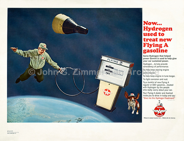 Flying A Gasoline, print advertisement, 1965. Photo by John G. Zimmerman.