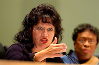 TALLAHASSEE, FL. 2/5/08-Sen. Ronda Storms, R-Valrico, asks a question of Florida Farm Bureau Insurance executives during the Senate Select Committee on Property Insurance Accountability meeting Tuesday at the Capitol in Tallahassee. Sen. Arthenia Joyner, D-Tampa, is at right. COLIN HACKLEY PHOTO