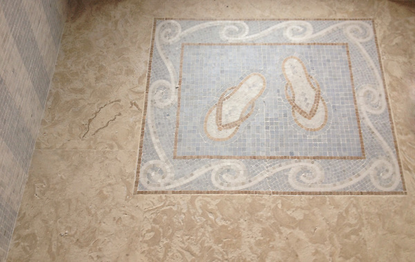 Flip Flop and Wave rug, a custom hand cut stone mosaic, shown in Celeste, Carrara, and New Kendra.<br /> -photo coutesy of Ceramic Matrix