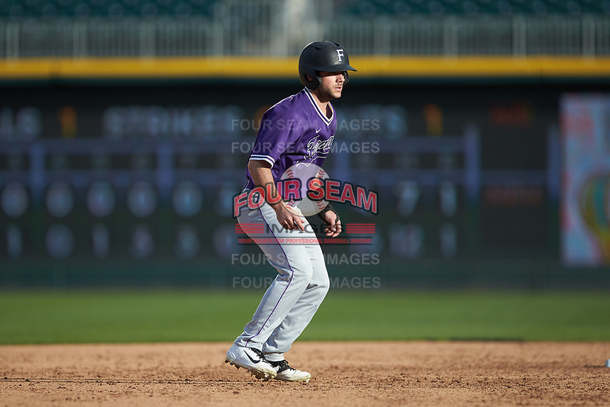 David Webel (5) of the Furman Paladins takes his lead off of second base against the Wake Forest Demon Deacons at BB&T BallPark on March 2, 2019 in Charlotte, North Carolina. The Demon Deacons defeated the Paladins 13-7. (Brian Westerholt/Four Seam Images)
