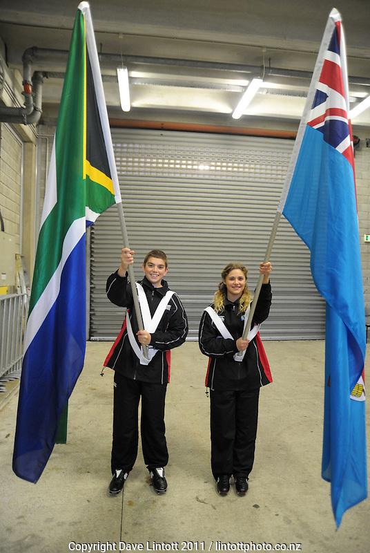 Flagbearers before the South Africa versus Fiji pool D match of the 2011 IRB Rugby World Cup at Wellington Regional Stadium, Wellington, New Zealand on Saturday, 17 September 2011. Photo: Dave Lintott / lintottphoto.co.nz