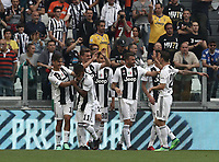 Calcio, Serie A: Juventus - Hellas Verona, Torino, Allianz Stadium, 19 maggio, 2018.<br /> Juventus' Daniele Rugani celebrates after scoring with his teammates during the Italian Serie A football match between Juventus and Hellas Verona at Torino's Allianz stadium, 19 May, 2018.<br /> Juventus won their 34th Serie A title (scudetto) and seventh in succession.<br /> UPDATE IMAGES PRESS/Isabella Bonotto
