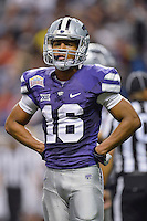 Kansas State wide receiver Tyler Lockett (16) looks towards the sideline during first half of Alamo Bowl, Friday, January 02, 2015 in San Antonio, Tex. UCLA leads Kansas State 31-6 at the halftime. (Mo Khursheed/TFV Media via AP Images)