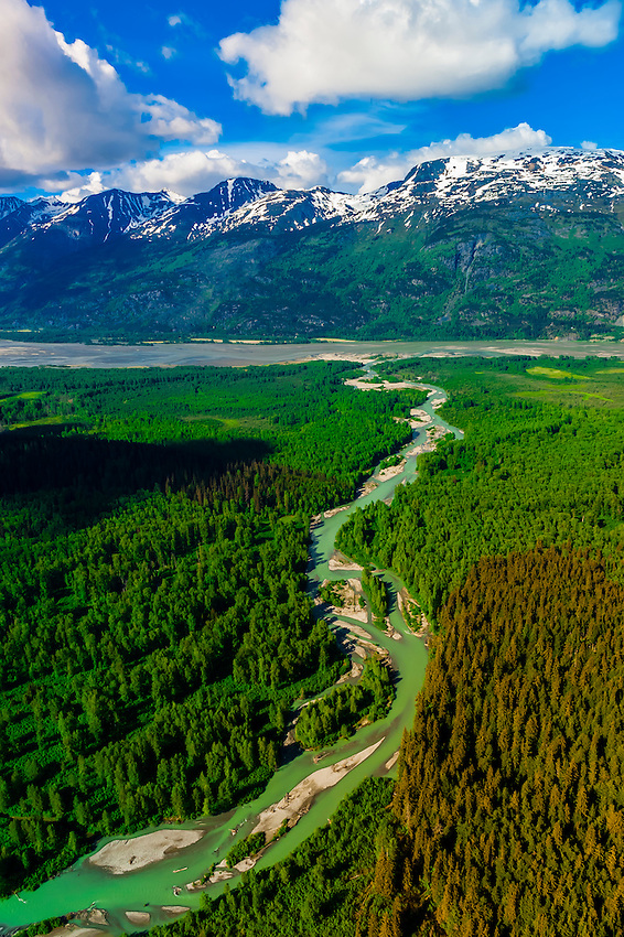 Aerial view of the Kicking Horse River (flowing in the background into the Chilkat River), near Haines, Alaska USA.