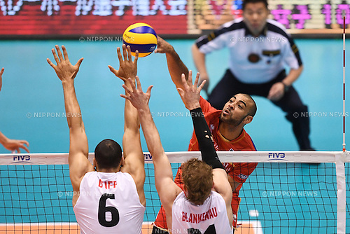 Earvin Ngapeth (FRA),<br /> JUNE 2, 2016 - Volleyball :<br /> Men's Volleyball World Final Qualification for the Rio de Janeiro Olympics 2016<br /> match between France 3-0 Canada <br /> at Tokyo Metropolitan Gymnasium, Tokyo, Japan.<br /> (Photo by AFLO SPORT)