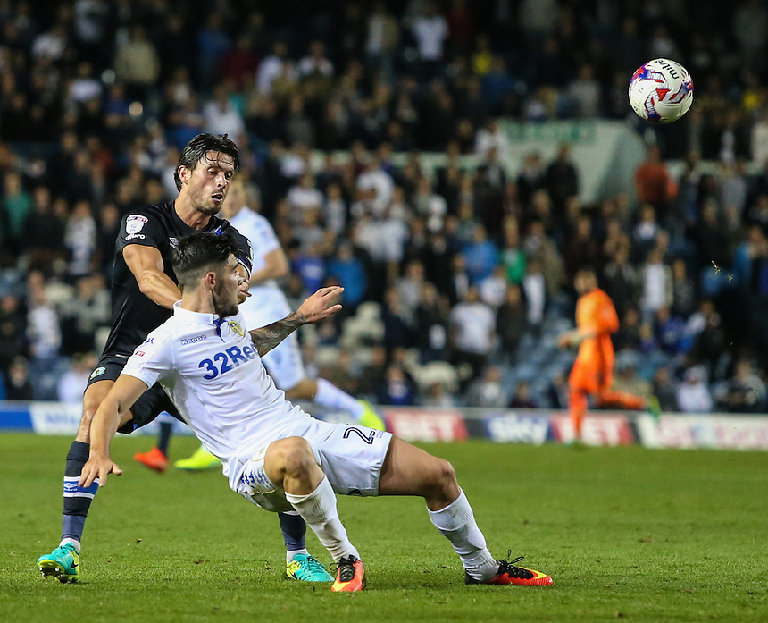 Blackburn Rovers' Jason Lowe battles with Leeds United's Alex Mowatt<br /> <br /> Photographer Alex Dodd/CameraSport<br /> <br /> The EFL Cup Third Round - Leeds United v Blackburn Rovers - Tuesday 20 September 2016 - Elland Road - Leeds<br />  <br /> World Copyright &copy; 2016 CameraSport. All rights reserved. 43 Linden Ave. Countesthorpe. Leicester. England. LE8 5PG - Tel: +44 (0) 116 277 4147 - admin@camerasport.com - www.camerasport.com