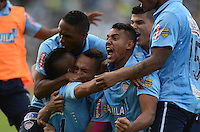 MEDELLÍN -COLOMBIA-11-JUNIO-2016.Jarlan Barrera  del Atlético Junior celebra su gol de tiro penalty que le da el paso a la final   al vencer al Atlético Nacional   durante partido por la semifinal-semifinal vuelta de la Liga Águila I 2016 jugado en el estadio Atanasio Girardot ./ Jarlan Barrera of Atletico Junior celebrates his goal against Atletico Nacional  during the match for the semifinal of  the Aguila League I 2016 played at Atanasio Girardot  stadium in Medellin . Photo: VizzorImage / León Monsalve  / Contribuidor