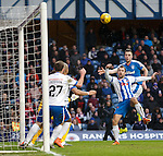 Danny Wilson watches his header come back off the crossbar