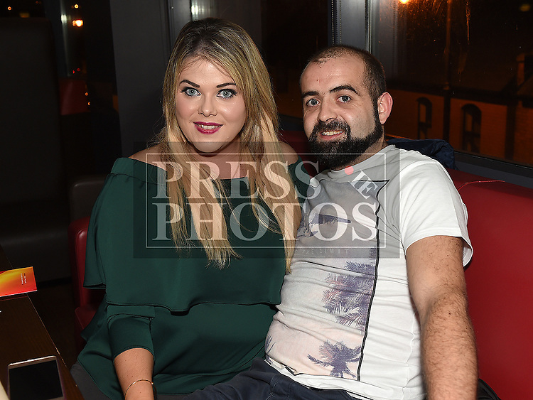 Emily Carroll with her partner Darren Murray at her leaving party from Dunnes Stores. Photo:Colin Bell/pressphotos.ie