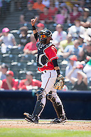 Richmond Flying Squirrels catcher Eliezer Zambrano (2) lets his defense know there is one out during the game against the Bowie Baysox at The Diamond on May 24, 2015 in Richmond, Virginia.  The Flying Squirrels defeated the Baysox 5-2.  (Brian Westerholt/Four Seam Images)