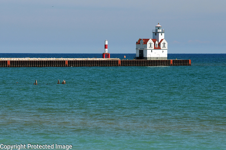 The lighthouse Kewaunee, Wis., on the shoreline of Lake Michigan on April 11, 2012.