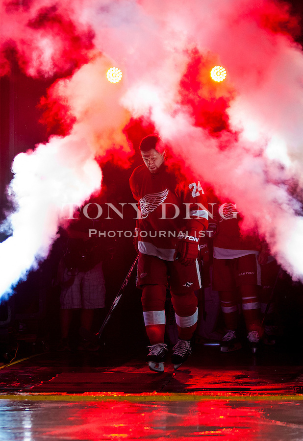 8 October 2010: Detroit Red Wings defenseman Ruslan Salei (24) is introduced and takes the ice before the first period of the Anaheim Ducks at Detroit Red Wings NHL hockey game, at Joe Louis Arena, in Detroit, MI...***** Editorial Use Only *****
