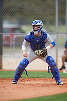 Central Connecticut State Blue Devils catcher Nick Garland (10) during warmups before a game against the North Dakota State Bison on February 23, 2018 at North Charlotte Regional Park in Port Charlotte, Florida.  North Dakota State defeated Connecticut State 2-0.  (Mike Janes/Four Seam Images)