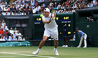 Alex De Minaur (AUS) during his match against Rafael Nadal (ESP)  in their Men's Singles Third Round match<br /> <br /> Photographer Rob Newell/CameraSport<br /> <br /> Wimbledon Lawn Tennis Championships - Day 6 - Saturday 7th July 2018 -  All England Lawn Tennis and Croquet Club - Wimbledon - London - England<br /> <br /> World Copyright &not;&copy; 2017 CameraSport. All rights reserved. 43 Linden Ave. Countesthorpe. Leicester. England. LE8 5PG - Tel: +44 (0) 116 277 4147 - admin@camerasport.com - www.camerasport.com