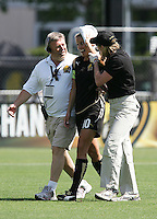 Leslie Osborne walks off the field after injury. Washington Freedom defeated FC Gold Pride 4-3 at Buck Shaw Stadium in Santa Clara, California on April 26, 2009.