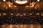 """The stage and student audience for The Rockefeller Foundation and The Gilder Lehrman Institute of American History sponsored High School student #EduHam matinee performance of """"Hamilton"""" at the Richard Rodgers Theatre on October 24, 2018 in New York City."""