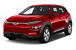 2019 Hyundai Kona EV Creative 5 Door SUV angular front stock photos of front three quarter view