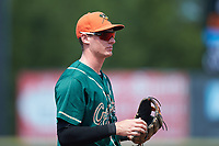 Greensboro Grasshoppers third baseman Michael Gretler (19) on defense against the Hickory Crawdads at L.P. Frans Stadium on May 26, 2019 in Hickory, North Carolina. The Crawdads defeated the Grasshoppers 10-8. (Brian Westerholt/Four Seam Images)