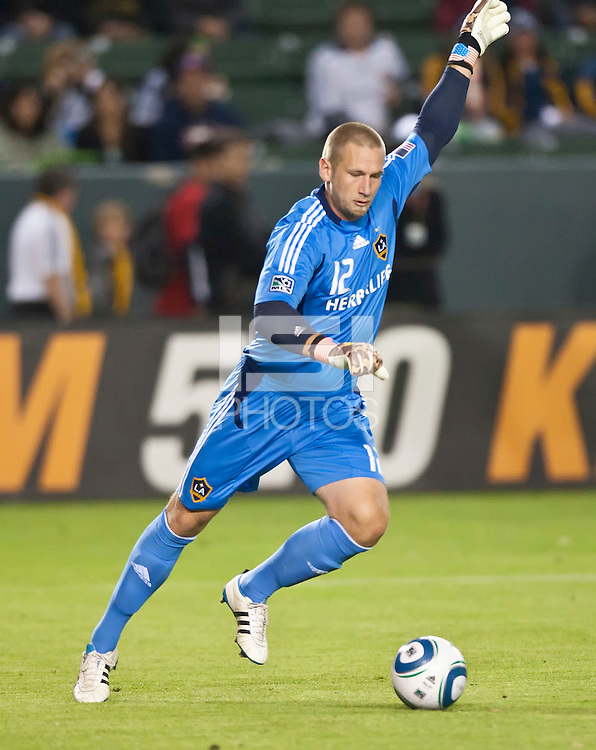 CARSON, CA – June 11, 2011: LA Galaxy goalie Josh Saunders (12) during the match between LA Galaxy and Toronto FC at the Home Depot Center in Carson, California. Final score LA Galaxy 2, Toronto FC 2.