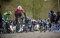 Gent-Wevelgem 2013.Edvald Boasson Hagen (NOR) biting up the Kemmelberg.