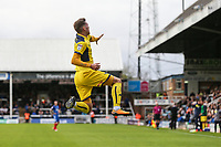 Joe Rothwell of Oxford United (18) celebrates after he scores his team's third goal of the game to make the score 1-3 during the Sky Bet League 1 match between Peterborough and Oxford United at the ABAX Stadium, London Road, Peterborough, England on 30 September 2017. Photo by David Horn.