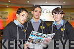 Students from CBS The Green, Tralee pictured at the Young Entrepreneur Business Boot Camp in the Brandon Hotel, Tralee on Friday from left: Marsell Fazilov, Imed Abnoun and Davin Barrett.
