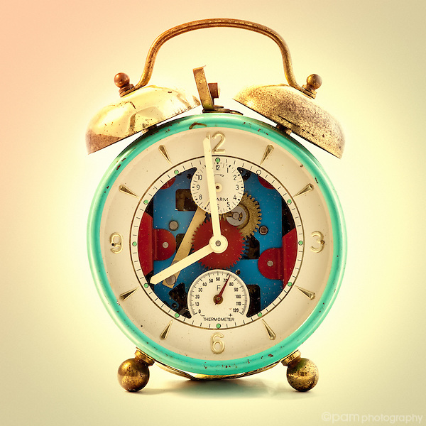 Blue and red vintage steampunk alarm clcok