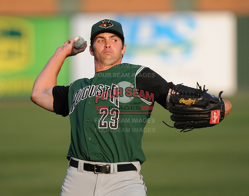 Outfielder Devin Harris (23) of the Augusta GreenJackets, Class A affiliate of the San Francisco Giants, in a game against the Greenville Drive on April 8, 2011, at Fluor Field at the West End in Greenville, S.C. Photo by Tom Priddy / Four Seam Images