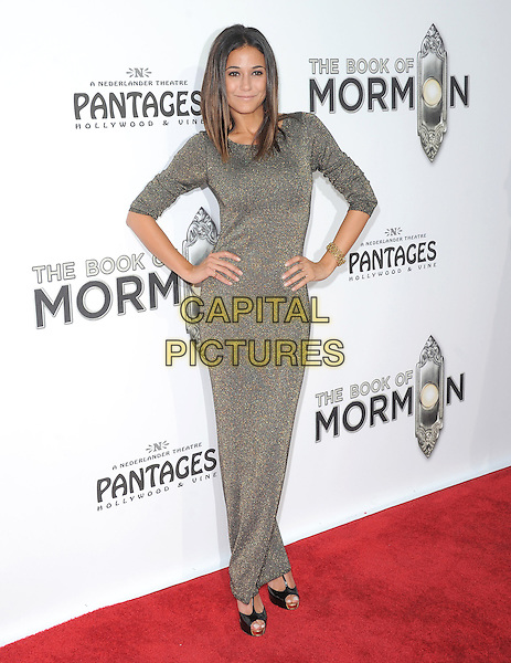 "Emmanuelle Chriqui.""The Book of Mormon"" Hollywood Opening night Held At The Pantages theatre, Hollywood, California, USA..September 12th, 2012.full length silver grey gray dress hands on hips .CAP/DVS.©DVS/Capital Pictures."
