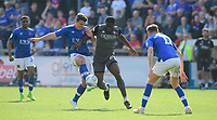 Lincoln City's John Akinde vies for possession with Carlisle United's Anthony Gerrard<br /> <br /> Photographer Chris Vaughan/CameraSport<br /> <br /> The EFL Sky Bet League Two - Carlisle United v Lincoln City - Friday 19th April 2019 - Brunton Park - Carlisle<br /> <br /> World Copyright © 2019 CameraSport. All rights reserved. 43 Linden Ave. Countesthorpe. Leicester. England. LE8 5PG - Tel: +44 (0) 116 277 4147 - admin@camerasport.com - www.camerasport.com