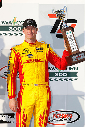 Verizon IndyCar Series<br /> Iowa Corn 300<br /> Iowa Speedway, Newton, IA USA<br /> Sunday 9 July 2017<br /> Ryan Hunter-Reay, Andretti Autosport Honda podium<br /> World Copyright: Michael L. Levitt<br /> LAT Images