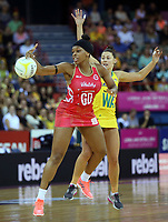 02.08.2017 Englnad's Eboni Beckford Chambers and Australia's Madison Robinson in action during a netball match between Australia and England at the Brisbane Entertainment Centre in Brisbane Australia. Mandatory Photo Credit ©Michael Bradley.