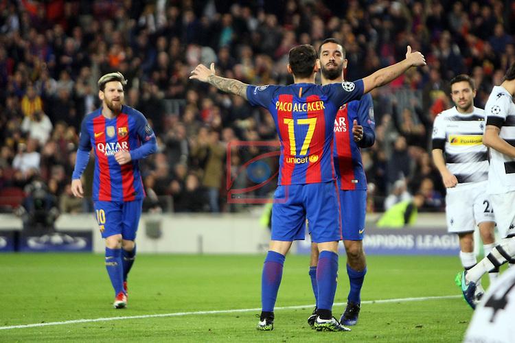 UEFA Champions League 2016/2017 - Matchday 6.<br /> FC Barcelona vs VfL Borussia Monchengladbach: 4-0.<br /> Lionel Messi, Arda Turan &amp; Paco Alcacer.