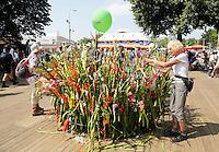 Nederland  Nijmegen 2016. De Vierdaagse van Nijmegen. Na afloop brengen veel mensen de ontvangen gladiolen naar het Vierdaagsemonument op de Wedren.  Foto Berlinda van Dam / Hollandse Hoogte