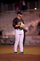 San Jose Giants relief pitcher Trevor Horn (48) warms up before a California League game against the Visalia Rawhide on April 12, 2019 at San Jose Municipal Stadium in San Jose, California. Visalia defeated San Jose 6-2. (Zachary Lucy/Four Seam Images)