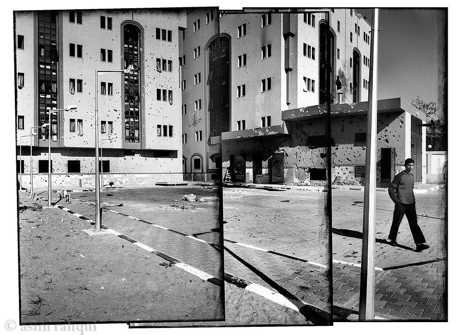 Location: Gaza City..The damaged buildings of the Al-Awfa hospital